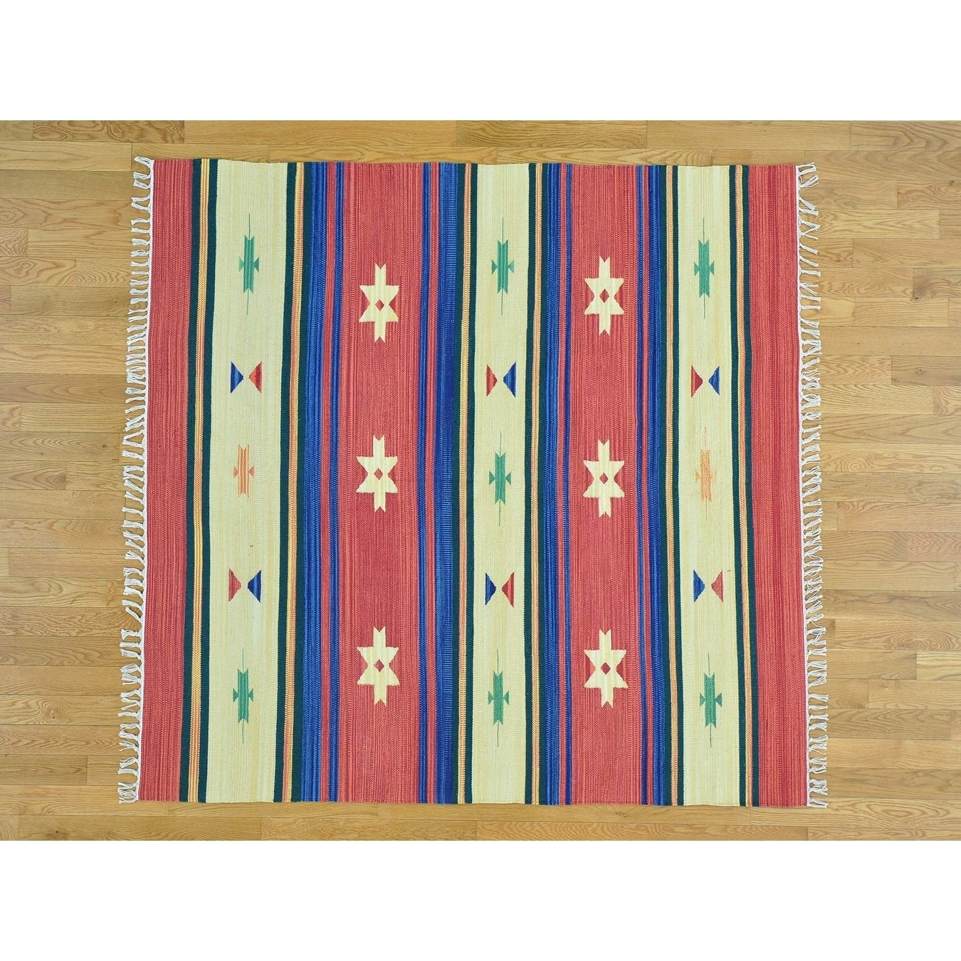 Hand Knotted Multicolored Flat Weave with Cotton Oriental Rug - 6' x 6'
