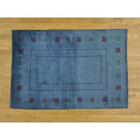Hand Knotted Blue Modern & Contemporary with Wool Oriental Rug - 4'1 x 6'