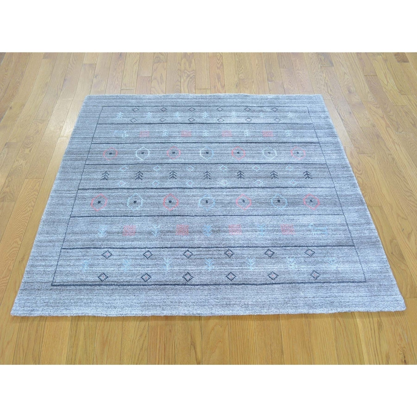 Hand Knotted Grey Modern & Contemporary with Wool & Silk Oriental Rug - 4'1 x 4'3