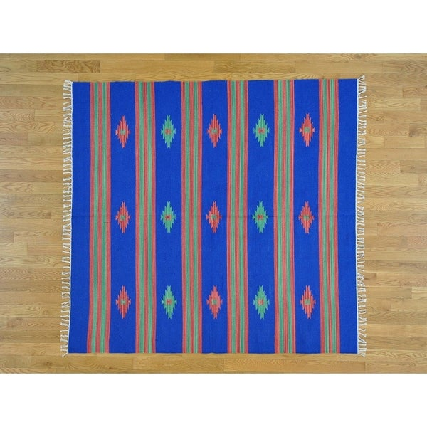 Hand Knotted Blue Flat Weave with Cotton Oriental Rug - 6' x 6'5