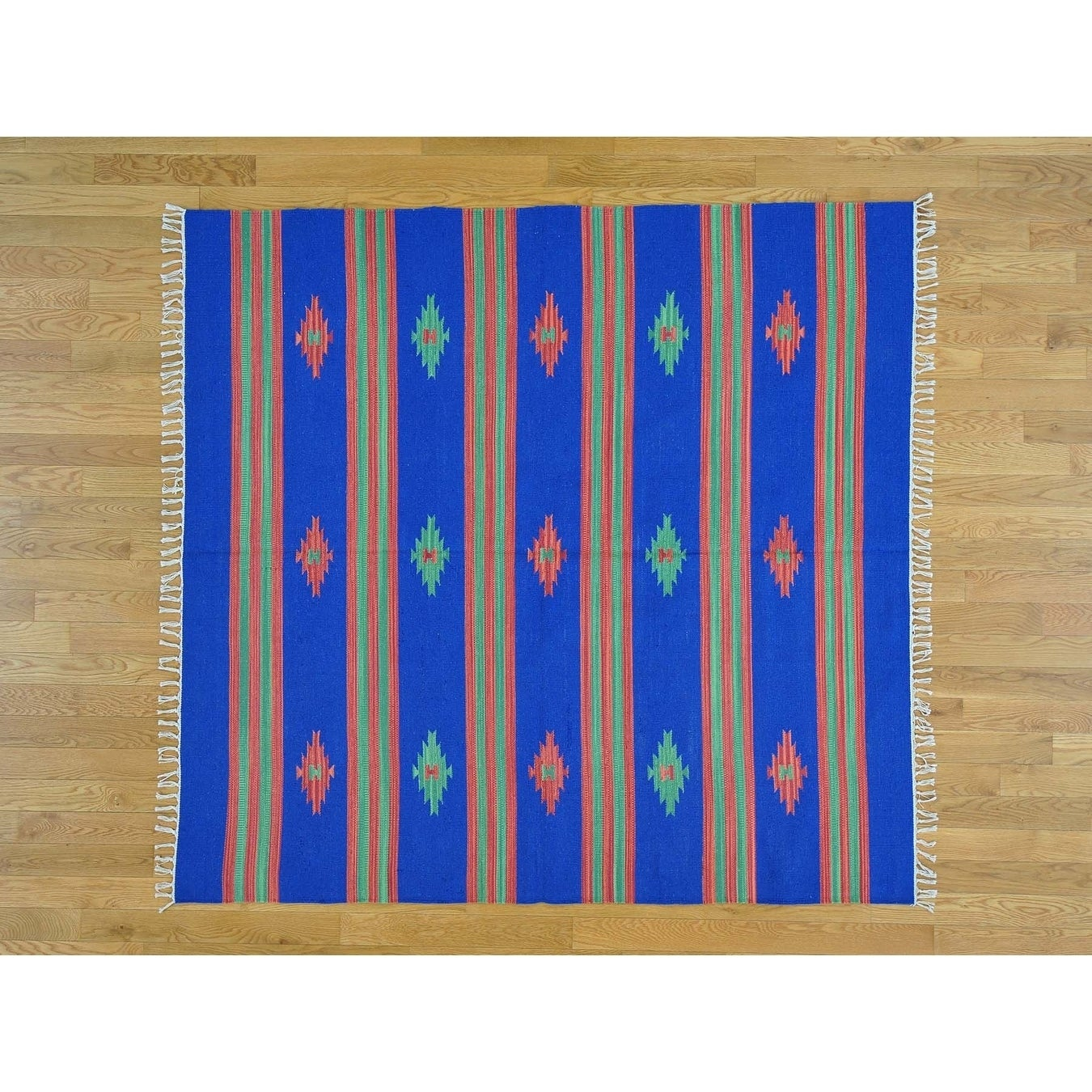 Hand Knotted Blue Flat Weave with Cotton Oriental Rug - 6 x 65