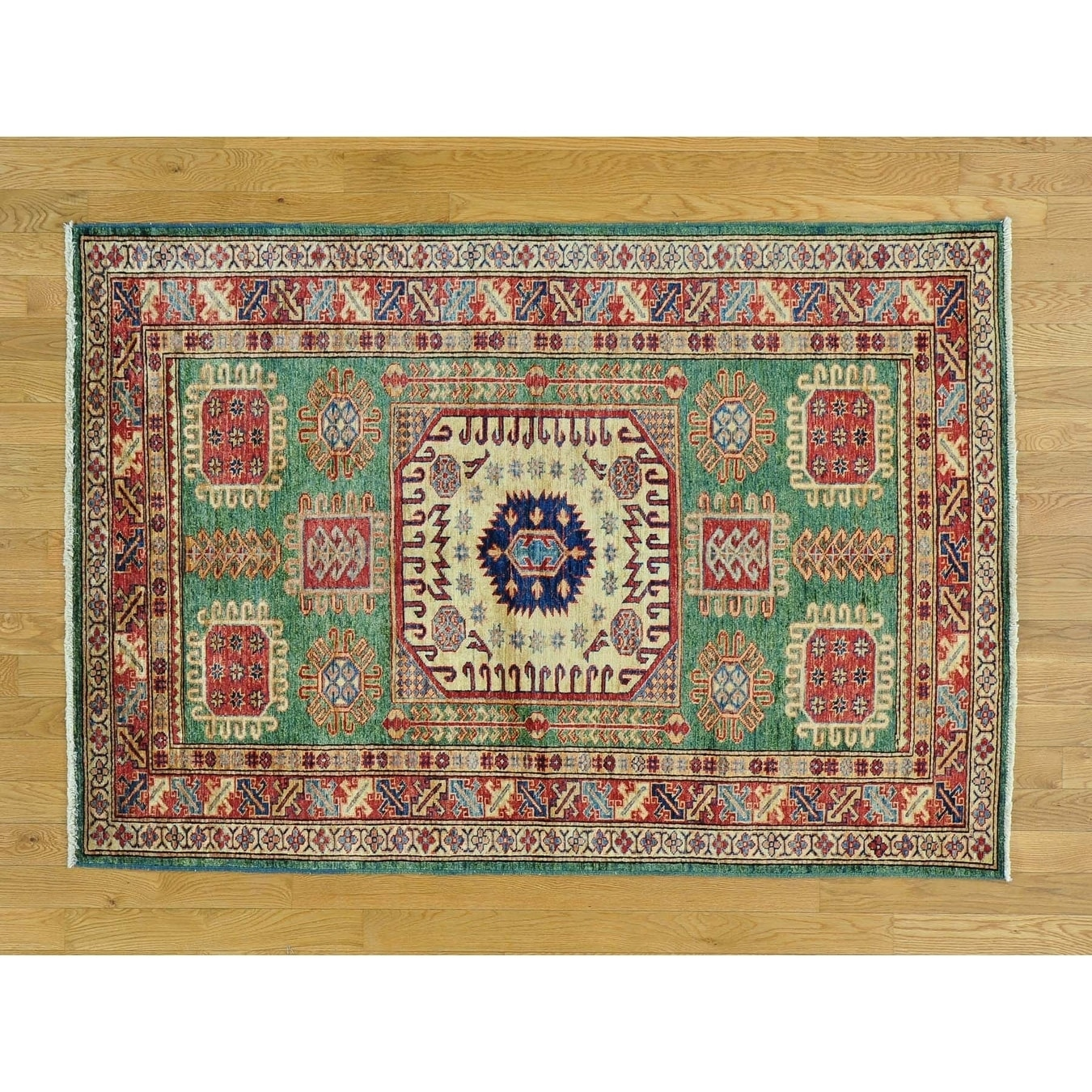Hand Knotted Green Kazak with Wool Oriental Rug - 4'2 x 6'