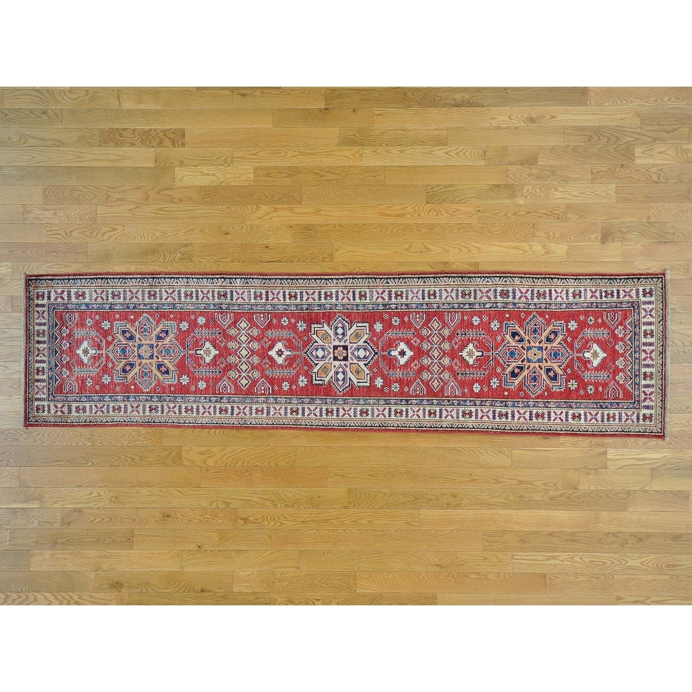 Hand Knotted Red Kazak with Wool Oriental Rug - 27 x 104