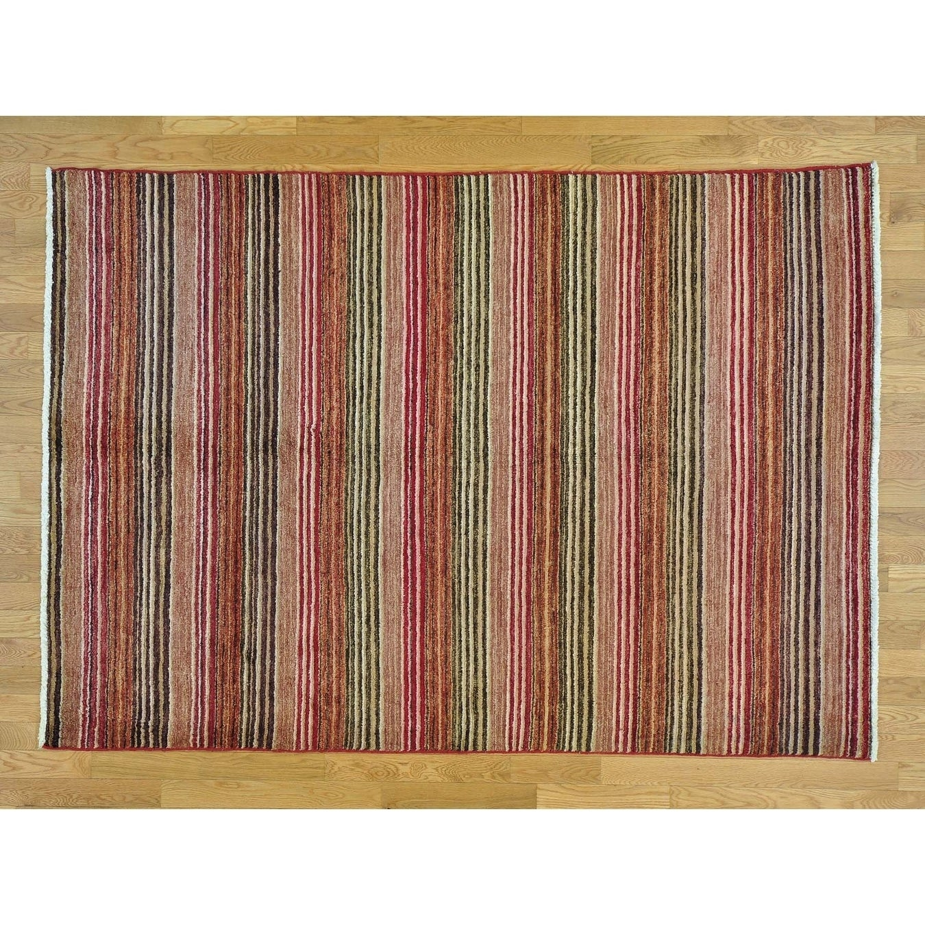 Hand Knotted Multicolored Modern & Contemporary with Wool Oriental Rug - 5'8 x 7'10