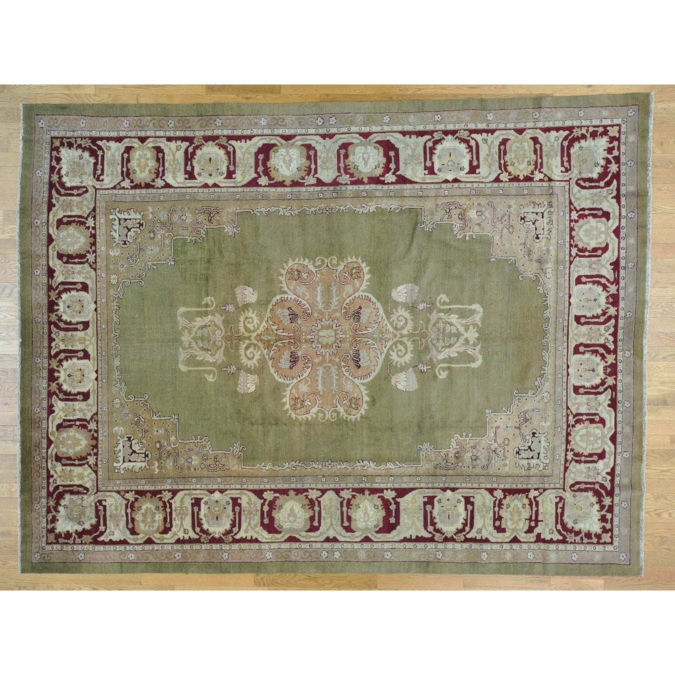 Hand Knotted Beige Antique with Wool Oriental Rug