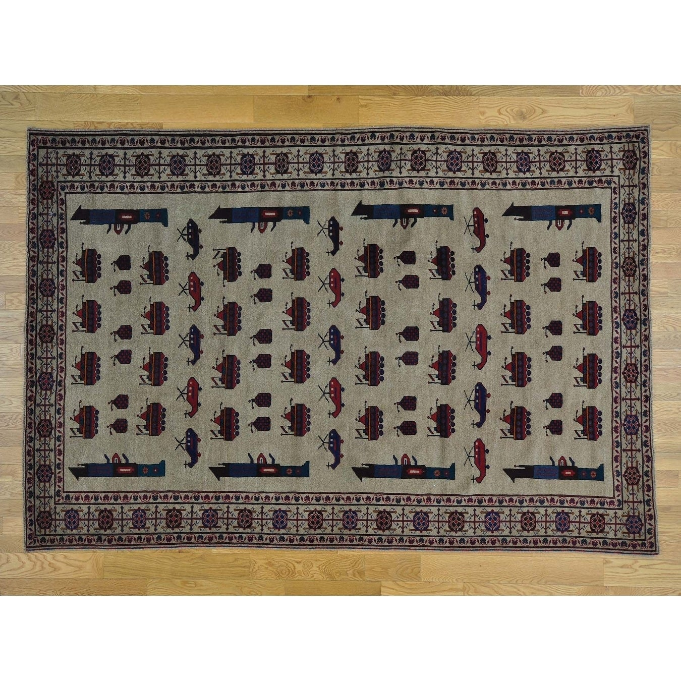 Hand Knotted Beige Tribal & Geometric with Wool Oriental Rug - 68 x 910