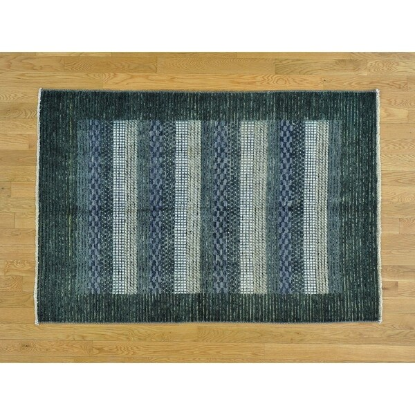 Hand Knotted Multicolored Modern & Contemporary with Wool Oriental Rug - 4' x 5'10