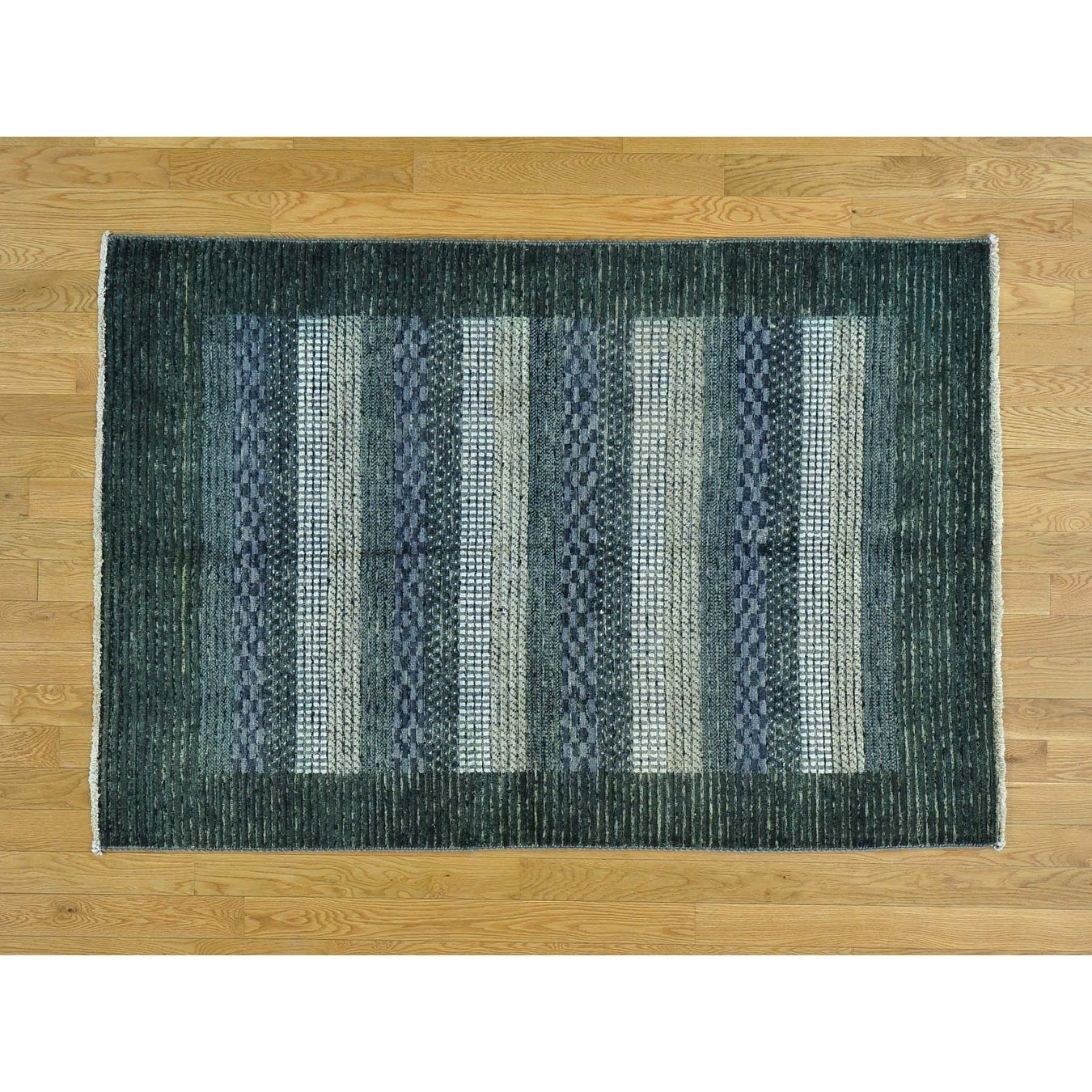 Hand Knotted Multicolored Modern & Contemporary with Wool Oriental Rug - 4 x 510