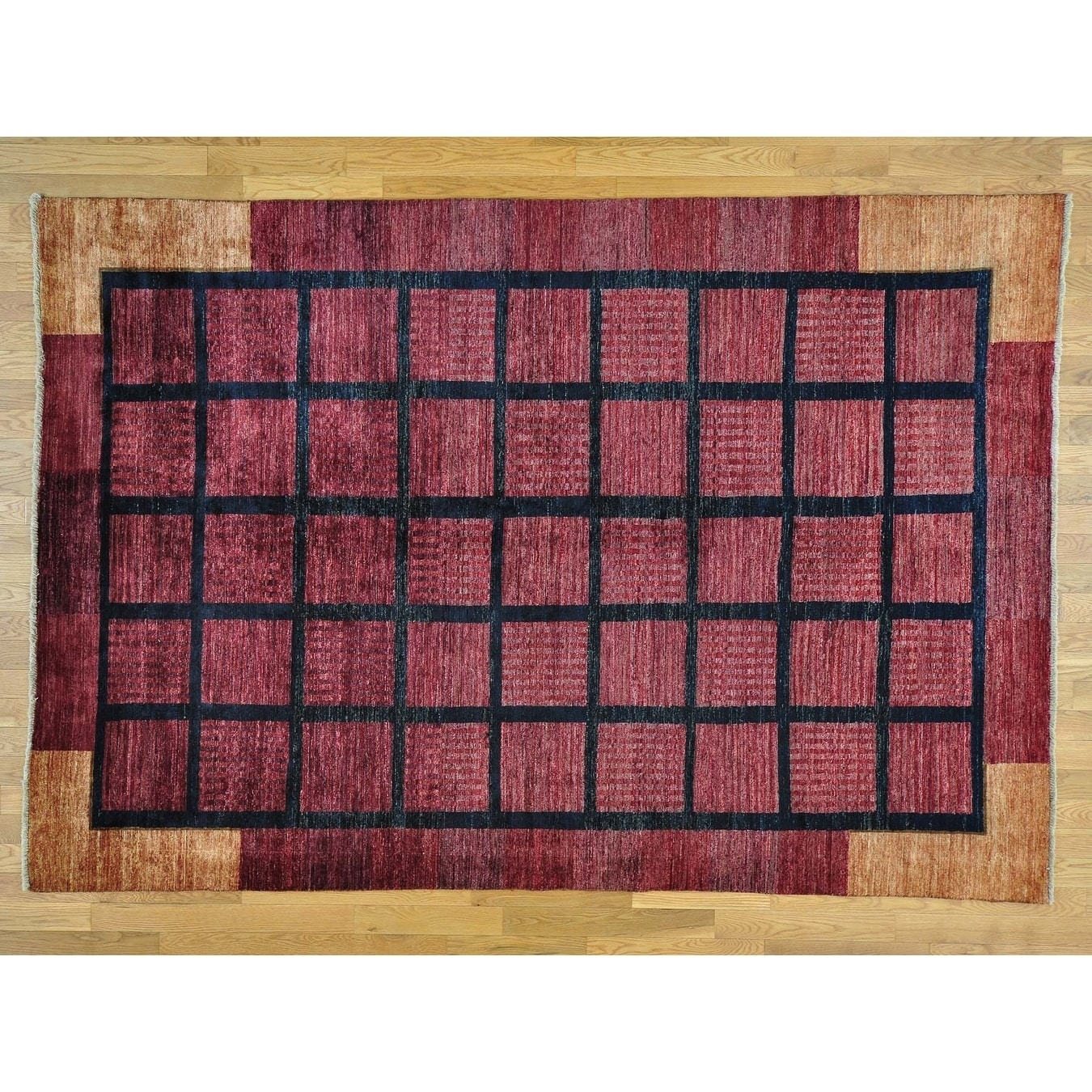 Hand Knotted Red Modern & Contemporary with Wool Oriental Rug - 6'6 x 9'5