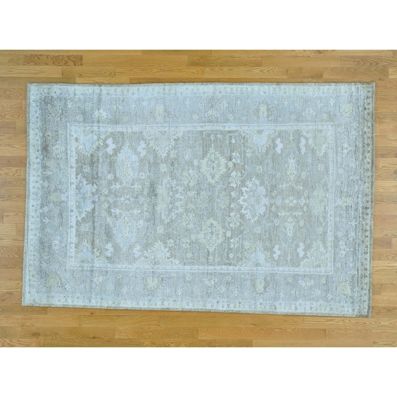 Hand Knotted Grey Oushak And Peshawar with Art Silk Oriental Rug - 56 x 84