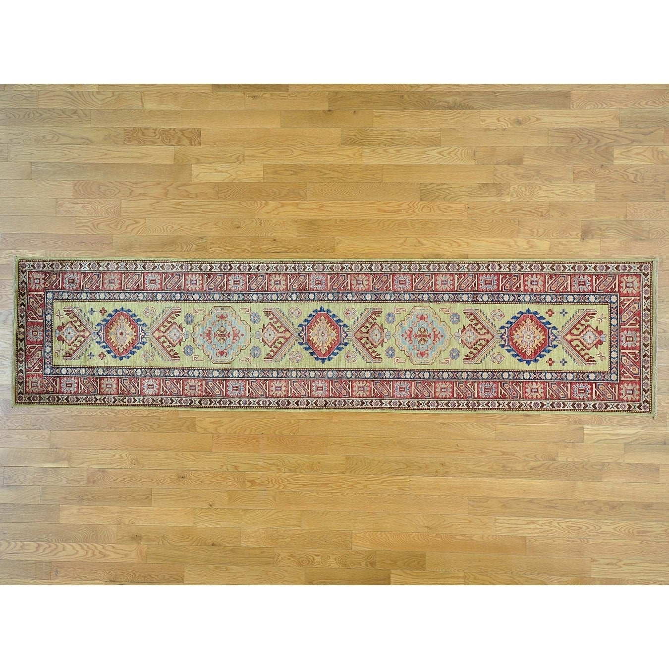 Hand Knotted Yellow Kazak with Wool Oriental Rug