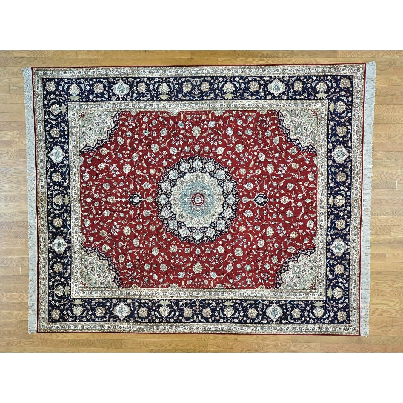 Hand Knotted Red Fine Oriental with Silk Oriental Rug - 8' x 9'10