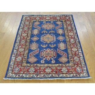 Hand Knotted Blue Kazak with Wool Oriental Rug - 3' x 4'
