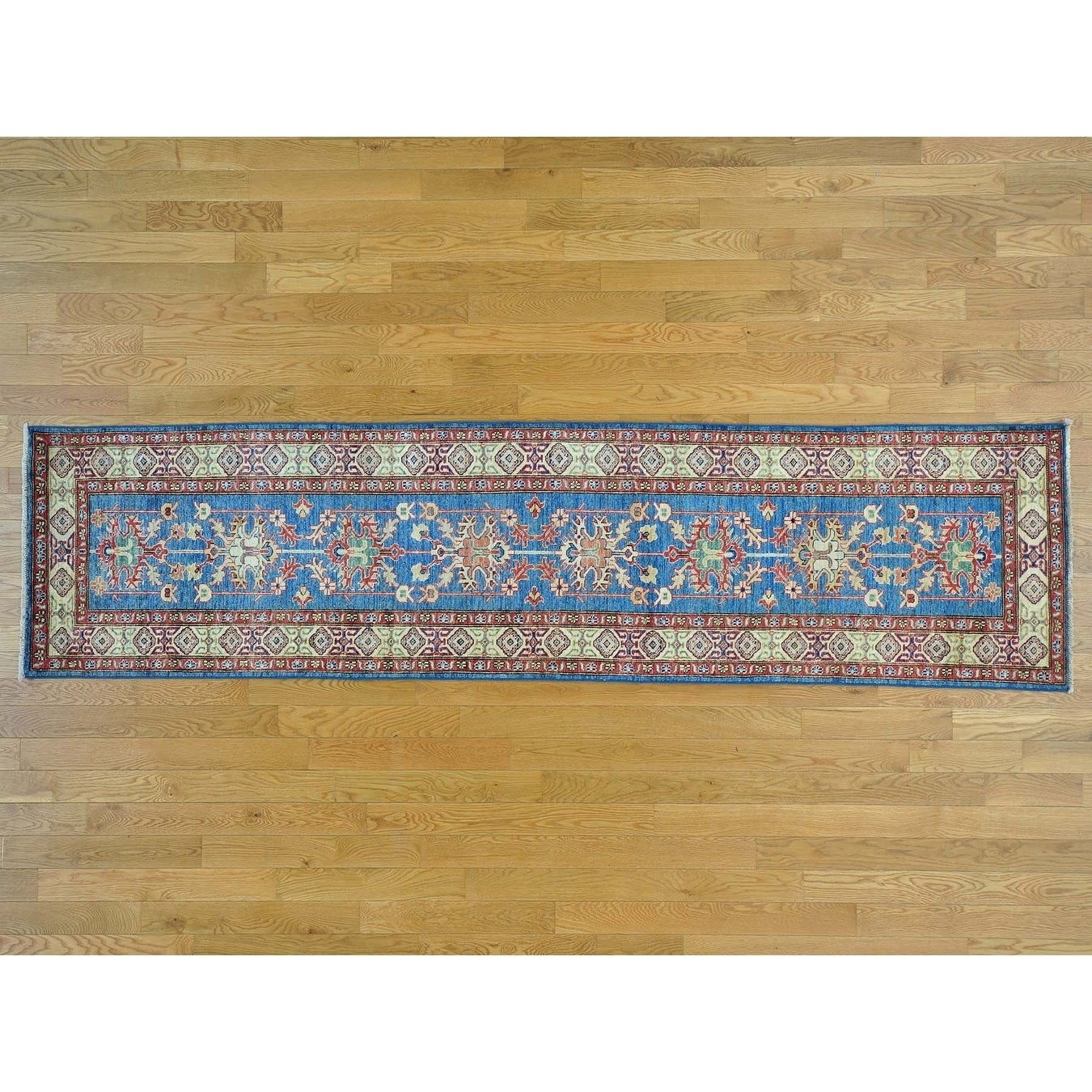 Hand Knotted Blue Kazak with Wool Oriental Rug - 28 x 107
