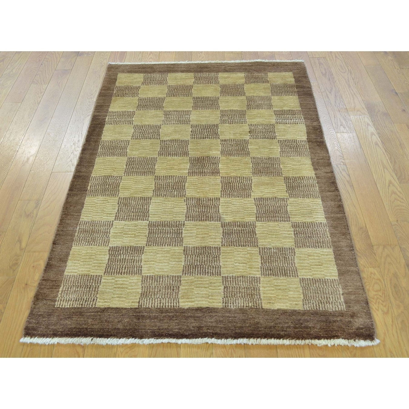 Hand Knotted Beige Modern & Contemporary with Wool Oriental Rug - 31 x 51