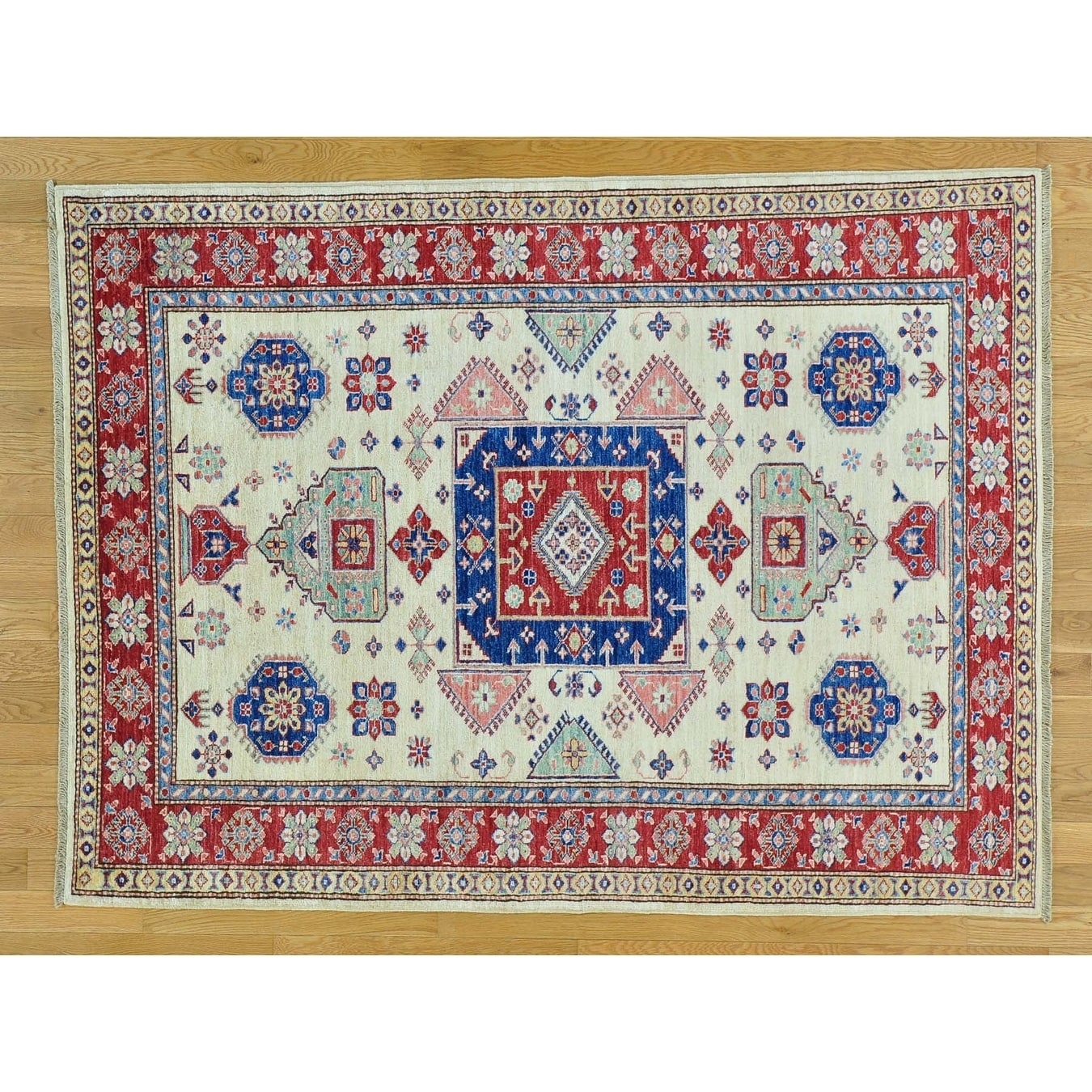 Hand Knotted Ivory Kazak with Wool Oriental Rug - 410 x 64