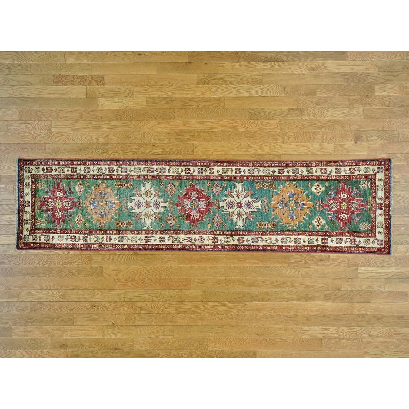 Hand Knotted Teal Kazak with Wool Oriental Rug - 2'6 x 10'1