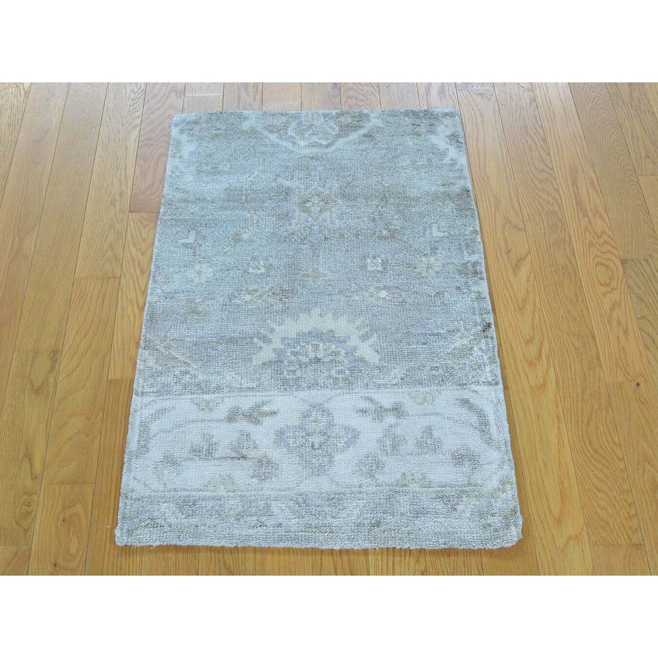 Hand Knotted Multicolored Oushak And Peshawar with Art Silk Oriental Rug - 2' x 3'
