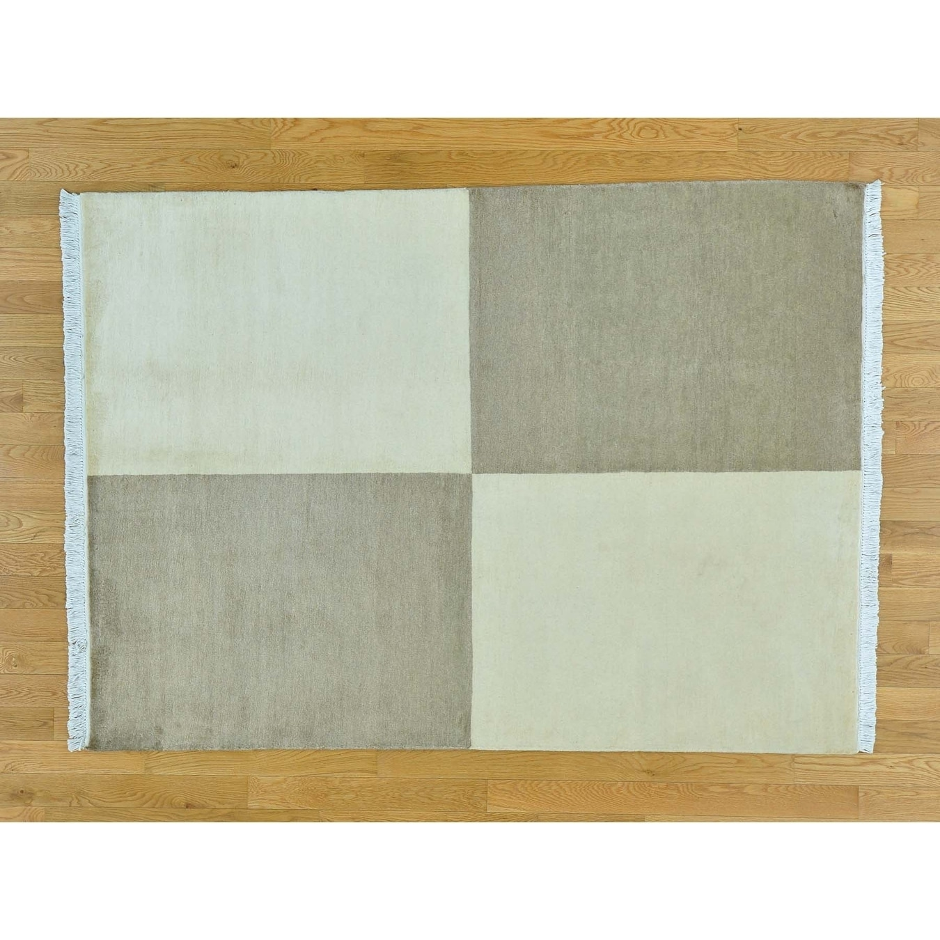 Hand Knotted Beige Modern & Contemporary with Wool Oriental Rug - 4'8 x 6'5
