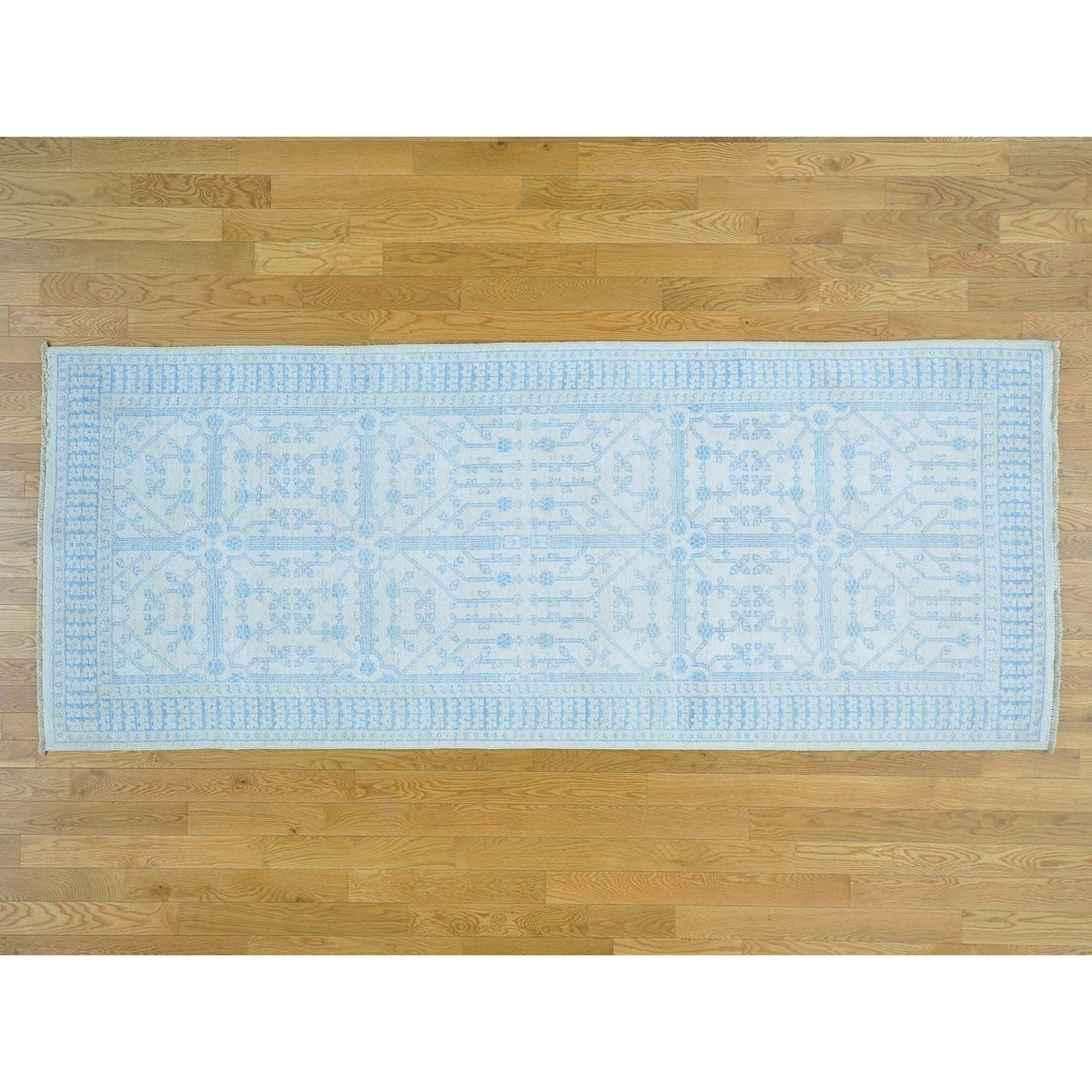 Hand Knotted Ivory Khotan and Samarkand with Wool Oriental Rug - 4'1 x 10'2