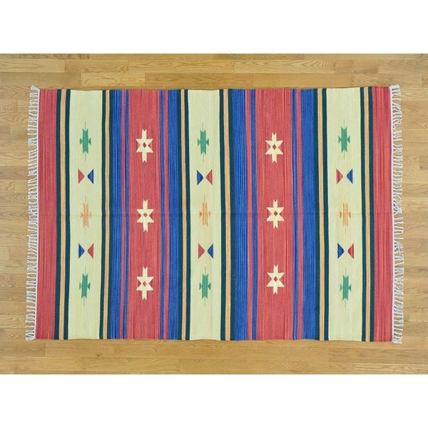 Hand Knotted Multicolored Flat Weave with Cotton Oriental Rug - 5' x 7'1