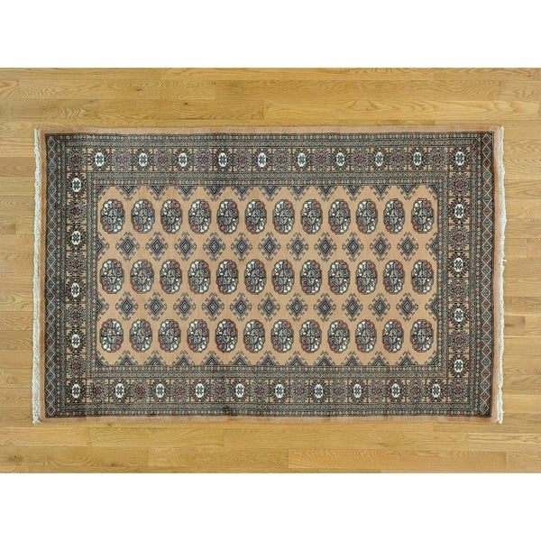 Hand Knotted Beige Tribal & Geometric with Wool Oriental Rug - 4'2 x 6'6