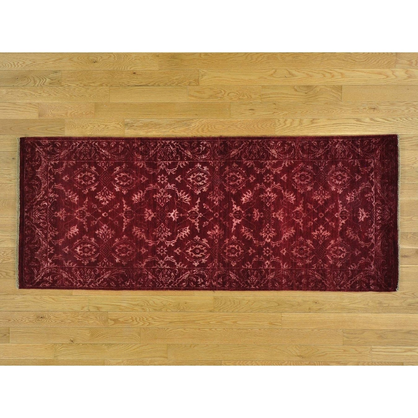 Hand Knotted Red Modern & Contemporary with Wool & Silk Oriental Rug - 27 x 64
