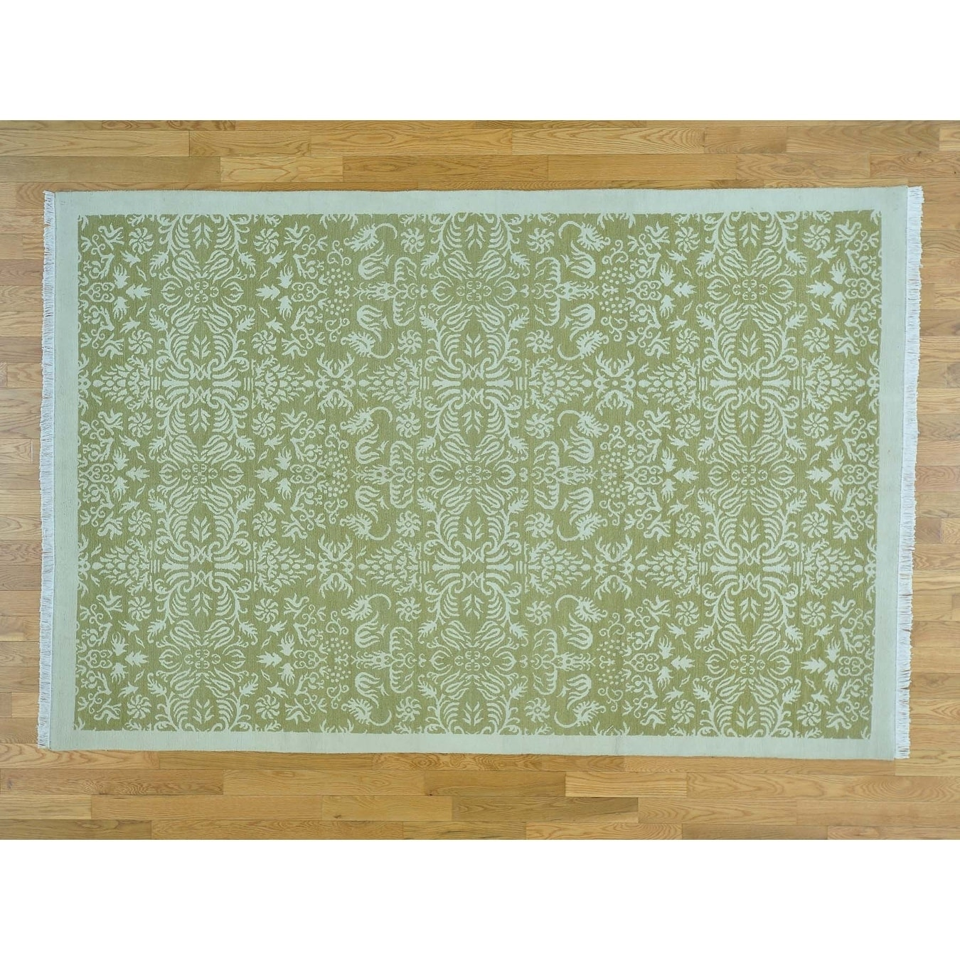 Hand Knotted Green Clearance with Wool & Silk Oriental Rug - 6 x 9