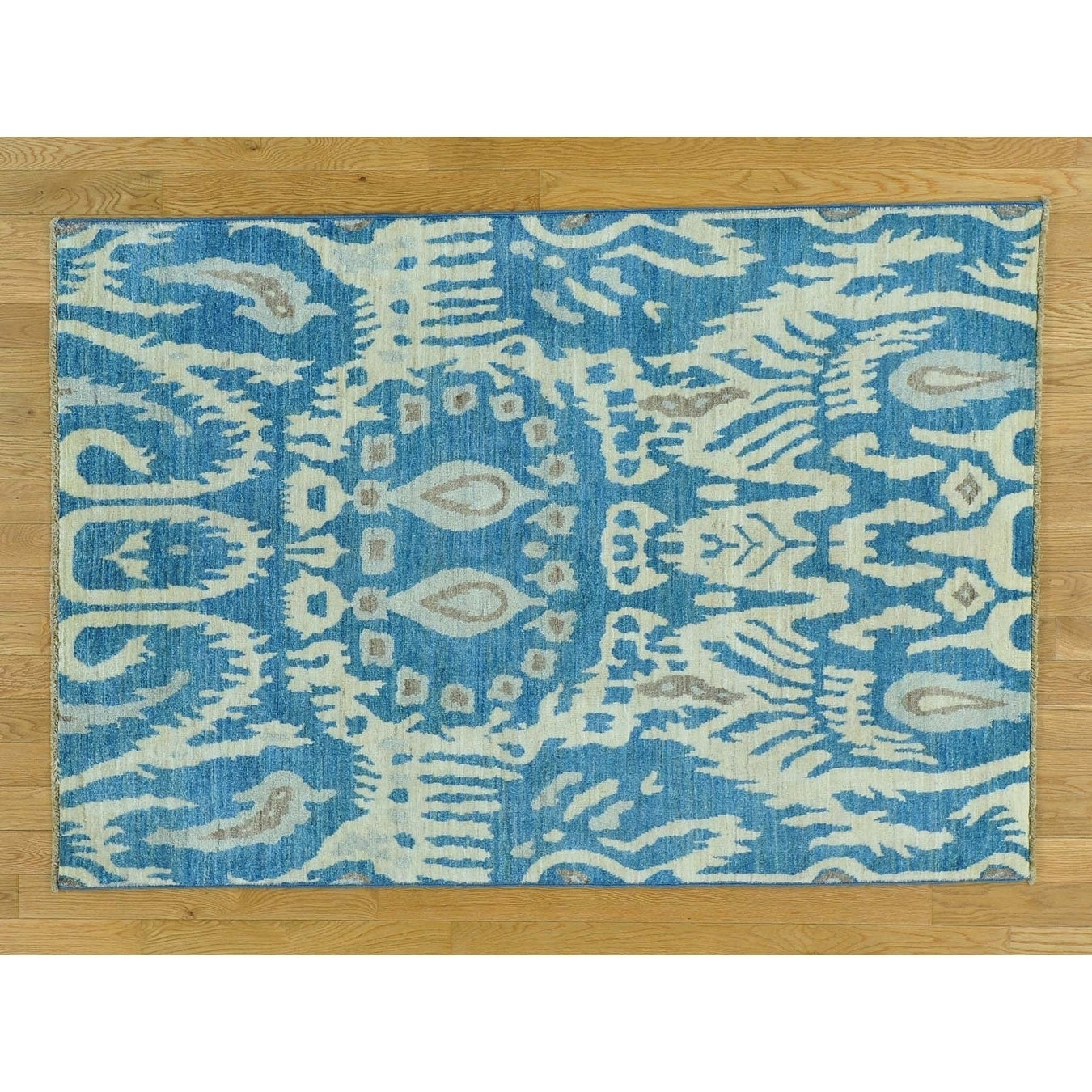 Hand Knotted Blue Ikat And Suzani Design with Wool Oriental Rug - 42 x 6