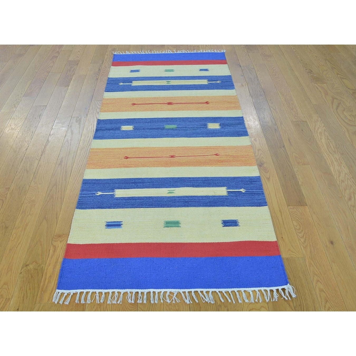 Hand Knotted Multicolored Flat Weave with Cotton Oriental Rug - 26 x 63