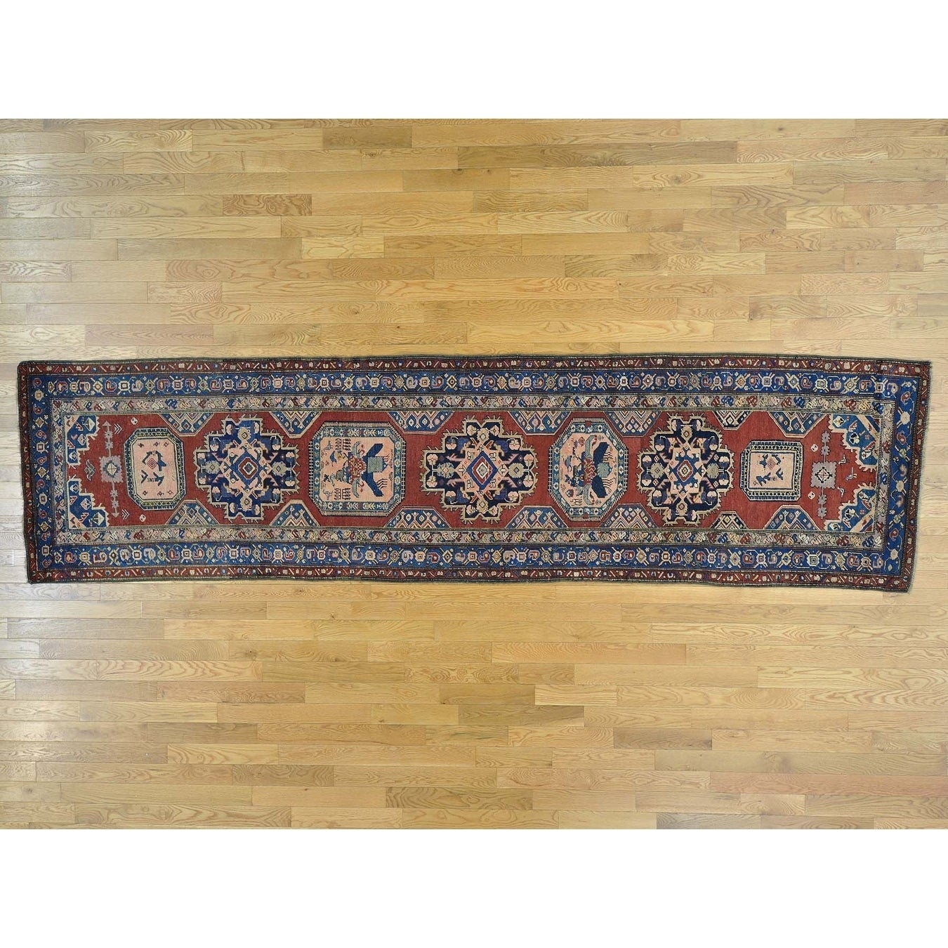 Hand Knotted Red Antique with Wool Oriental Rug - 37 x 142