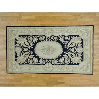 Hand Knotted Blue European with Wool Oriental Rug - 5' x 9'1