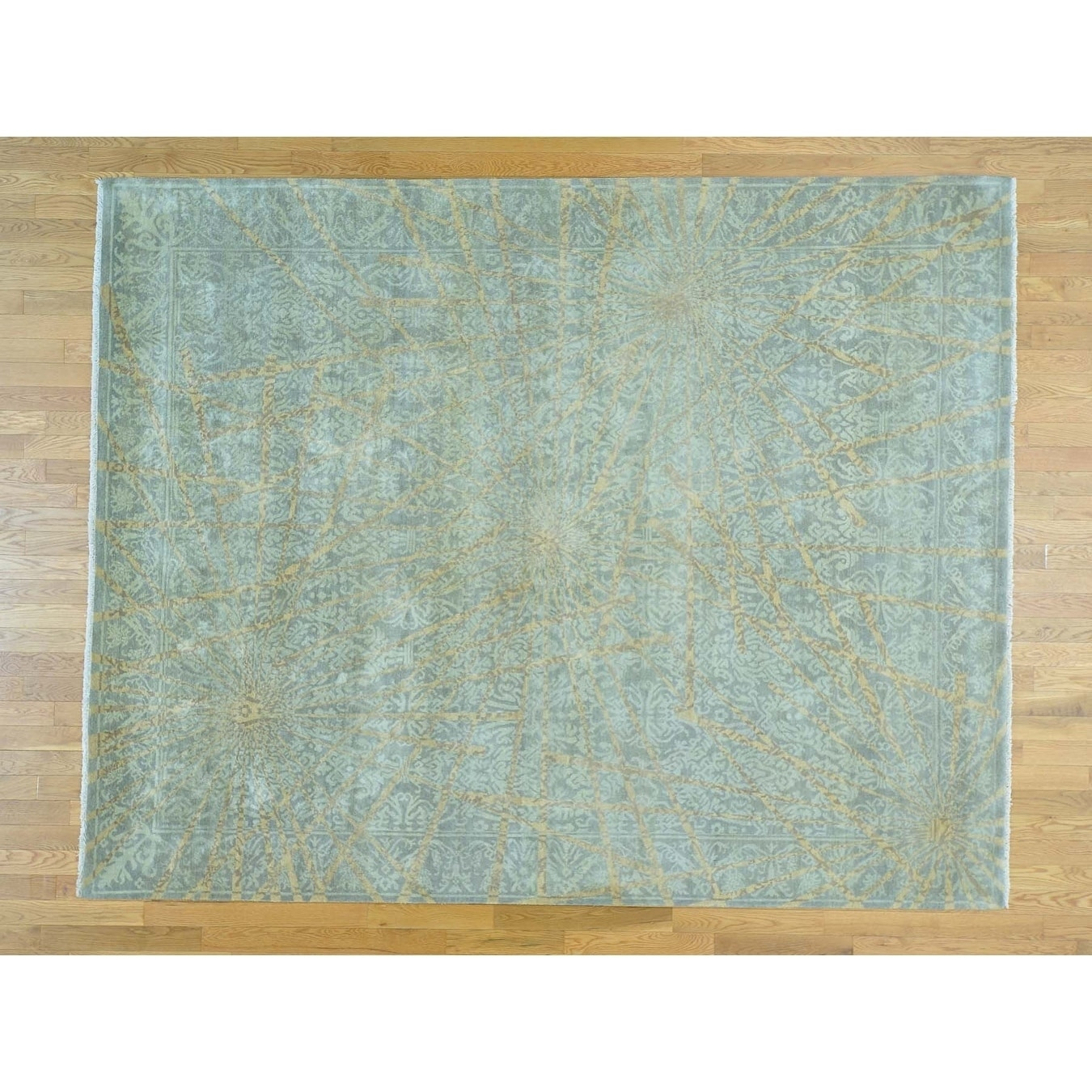 Hand Knotted Green Modern & Contemporary with Wool Oriental Rug - 82 x 102