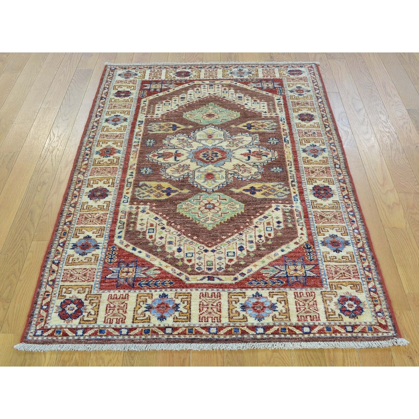 Hand Knotted Brown Kazak with Wool Oriental Rug - 32 x 5
