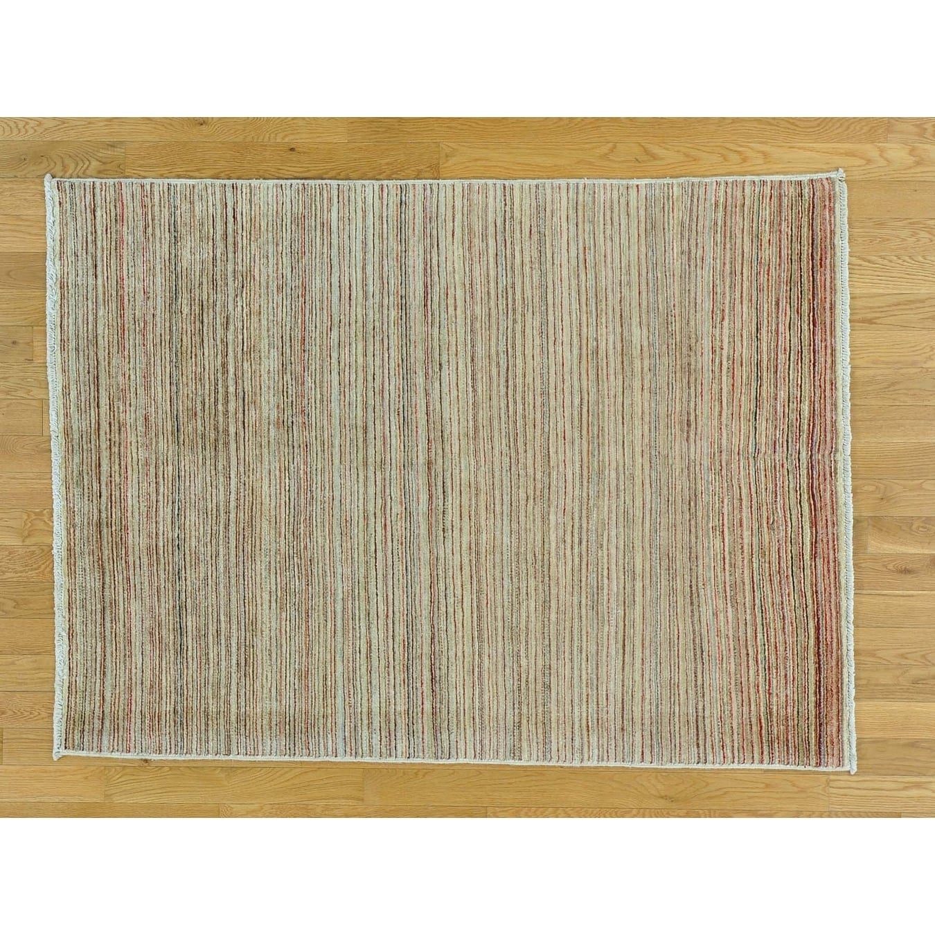 Hand Knotted Multicolored Modern & Contemporary with Wool Oriental Rug - 43 x 59