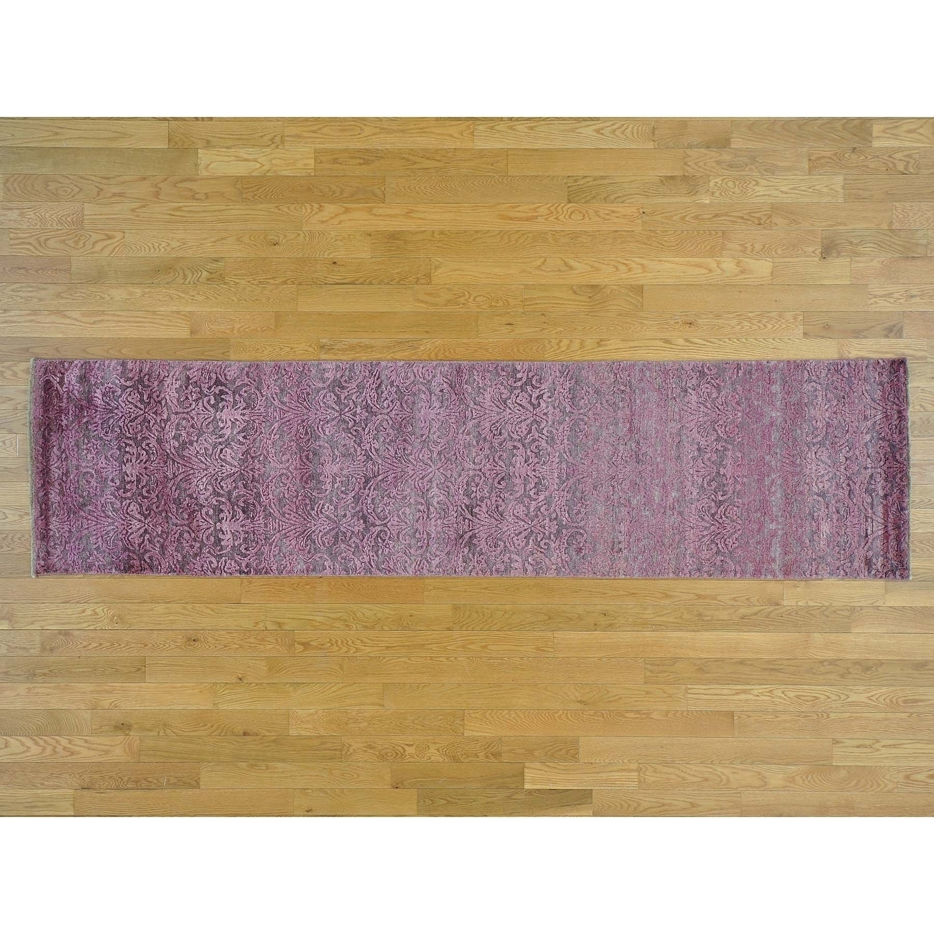 Hand Knotted Pink Modern & Contemporary with Wool & Silk Oriental Rug - 25 x 910