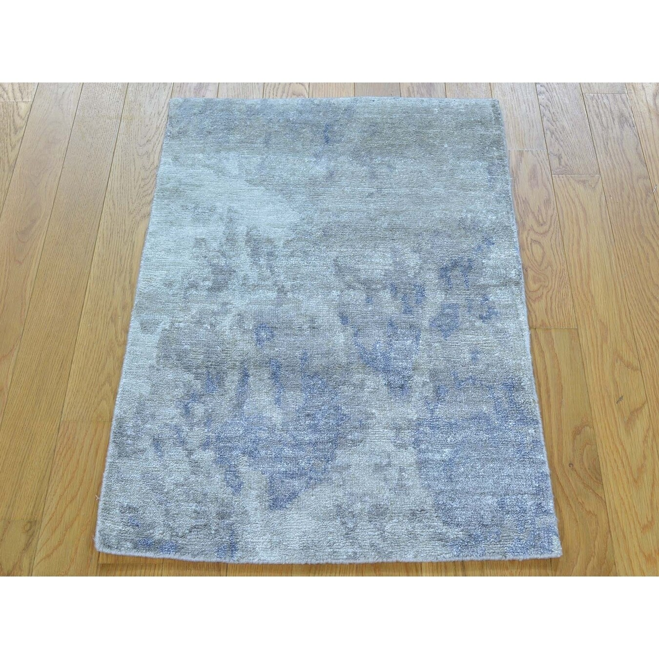 Hand Knotted Grey Modern & Contemporary with Art Silk Oriental Rug - 2 x 210