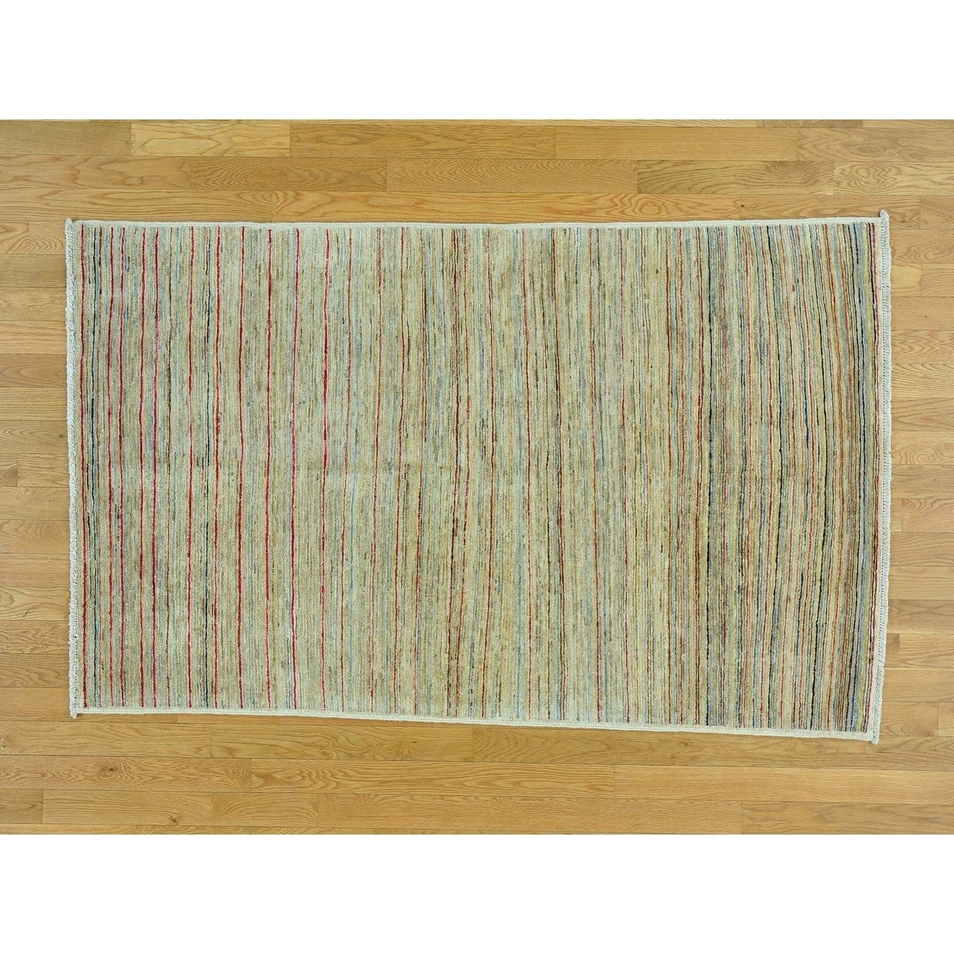 Hand Knotted Multicolored Modern & Contemporary with Wool Oriental Rug - 4 x 66