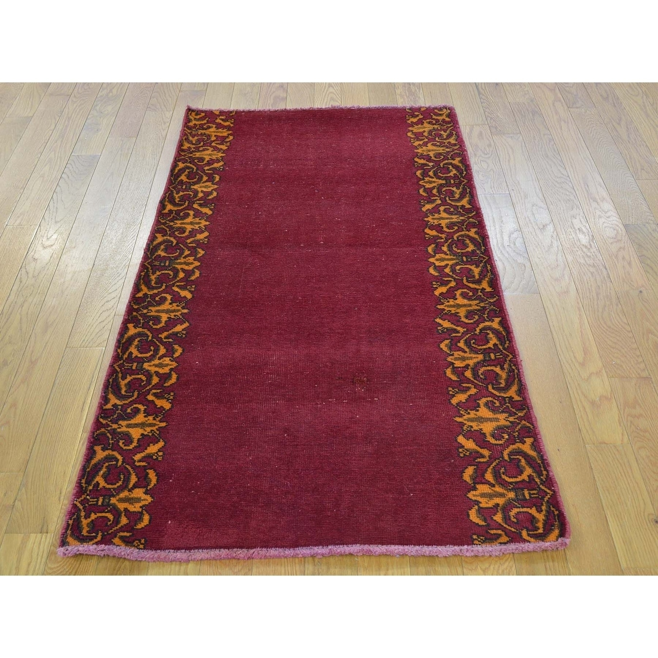 Hand Knotted Red Overdyed & Vintage with Wool Oriental Rug - 27 x 51