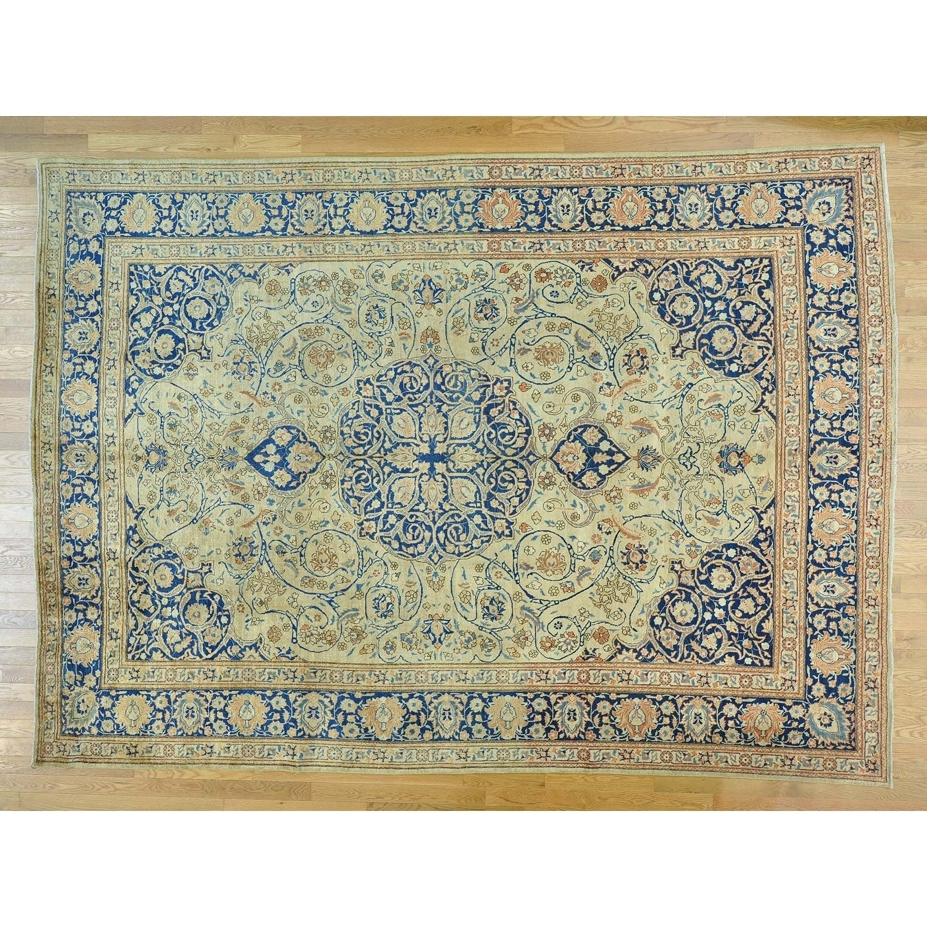 Hand Knotted Ivory Persian with Wool Oriental Rug - 94 x 13
