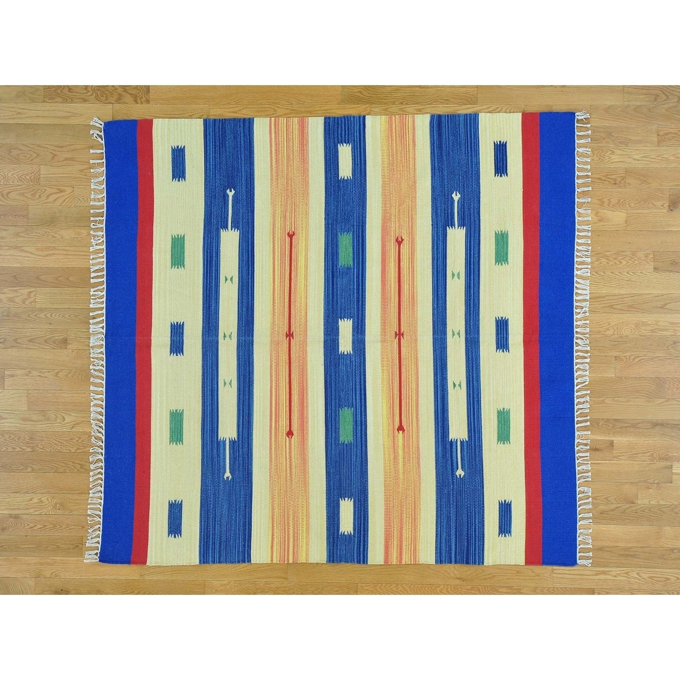 Hand Knotted Multicolored Flat Weave with Cotton Oriental Rug - 510 x 62