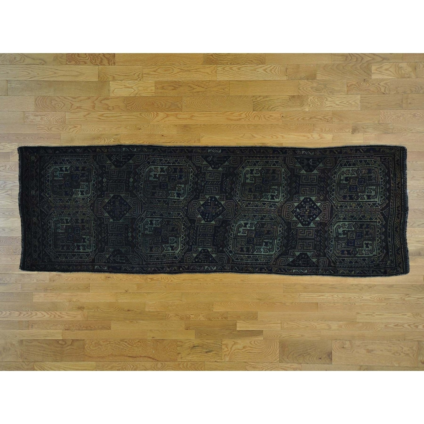 Hand Knotted Blue Overdyed & Vintage with Wool Oriental Rug - 38 x 11