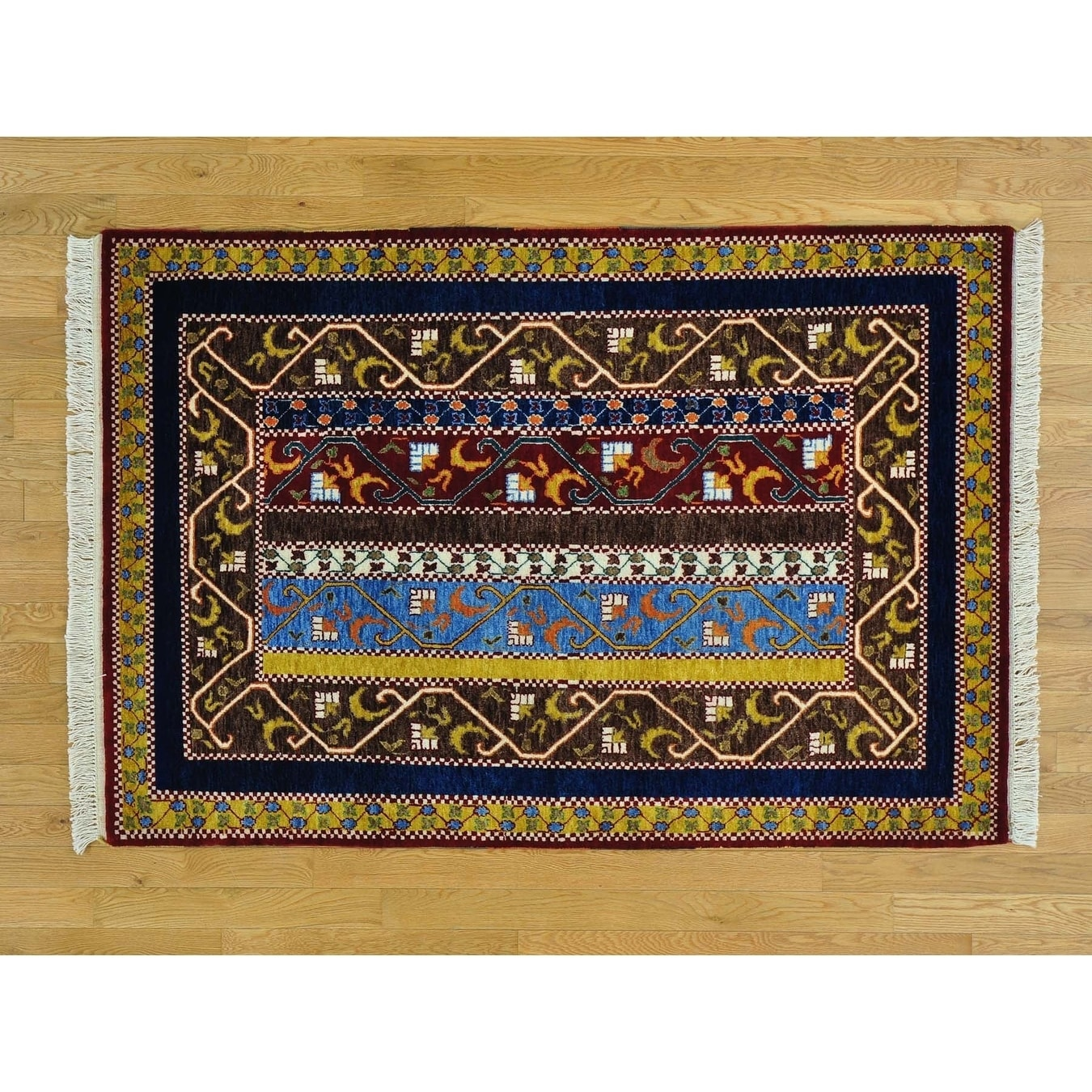 Hand Knotted Multicolored Tribal & Geometric with Wool Oriental Rug - 41 x 62