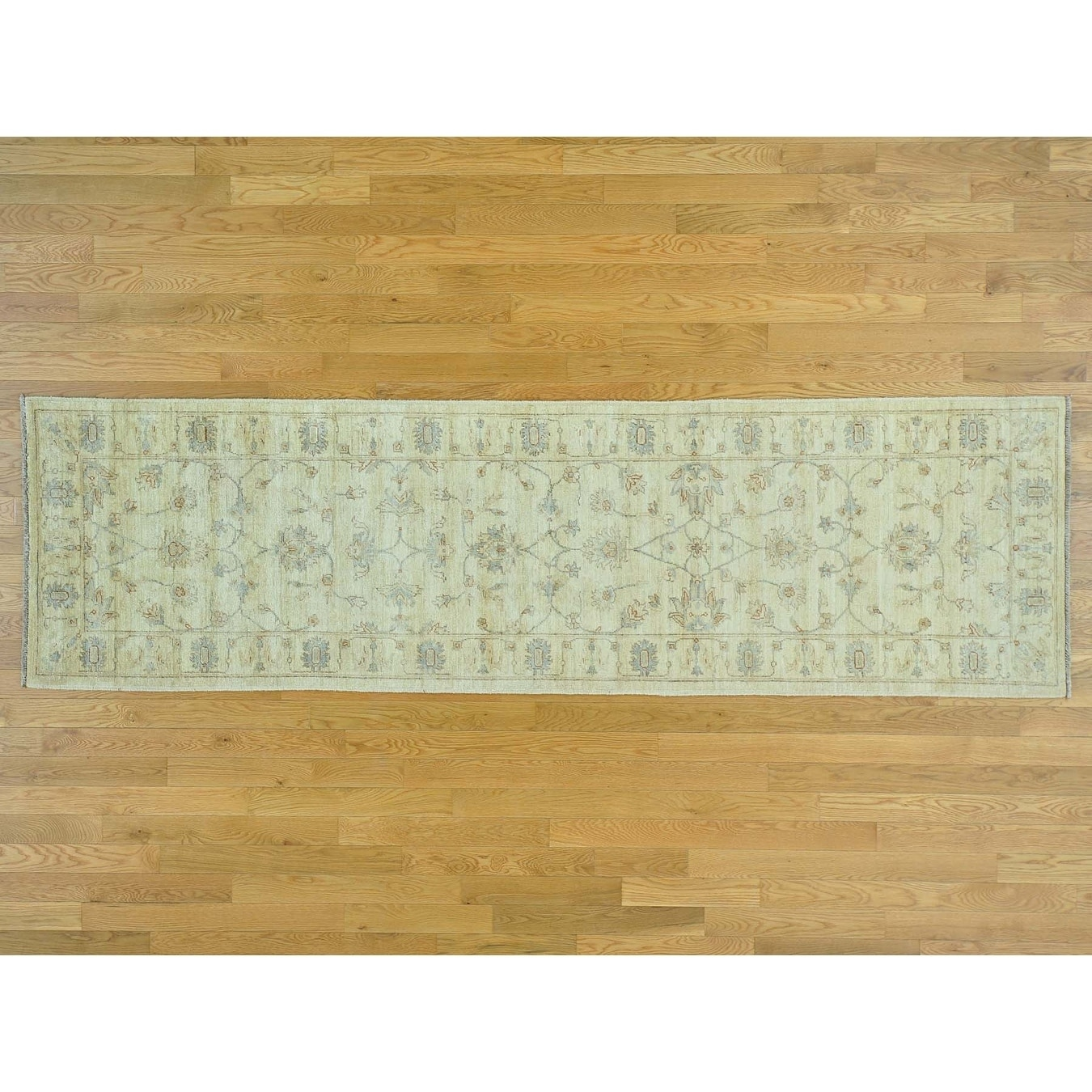 Hand Knotted Beige Oushak And Peshawar with Wool Oriental Rug - 29 x 97