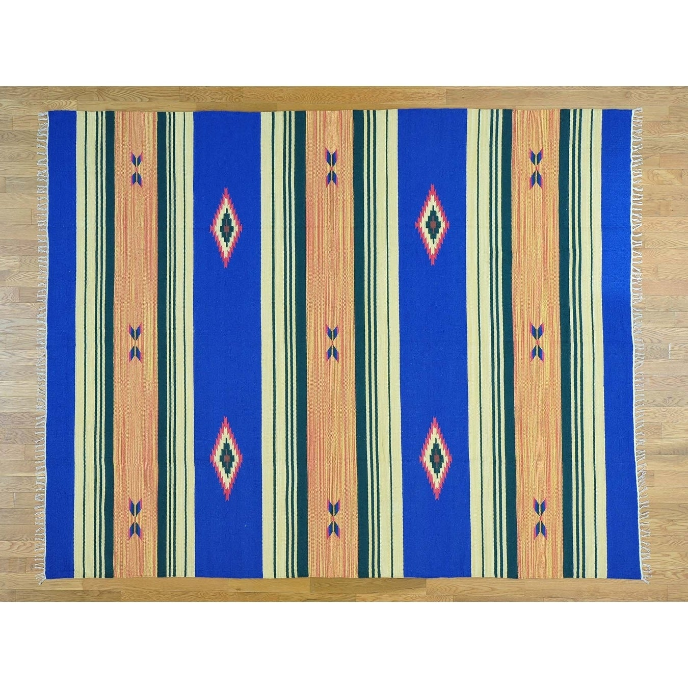 Hand Knotted Multicolored Flat Weave with Cotton Oriental Rug - 8 x 101