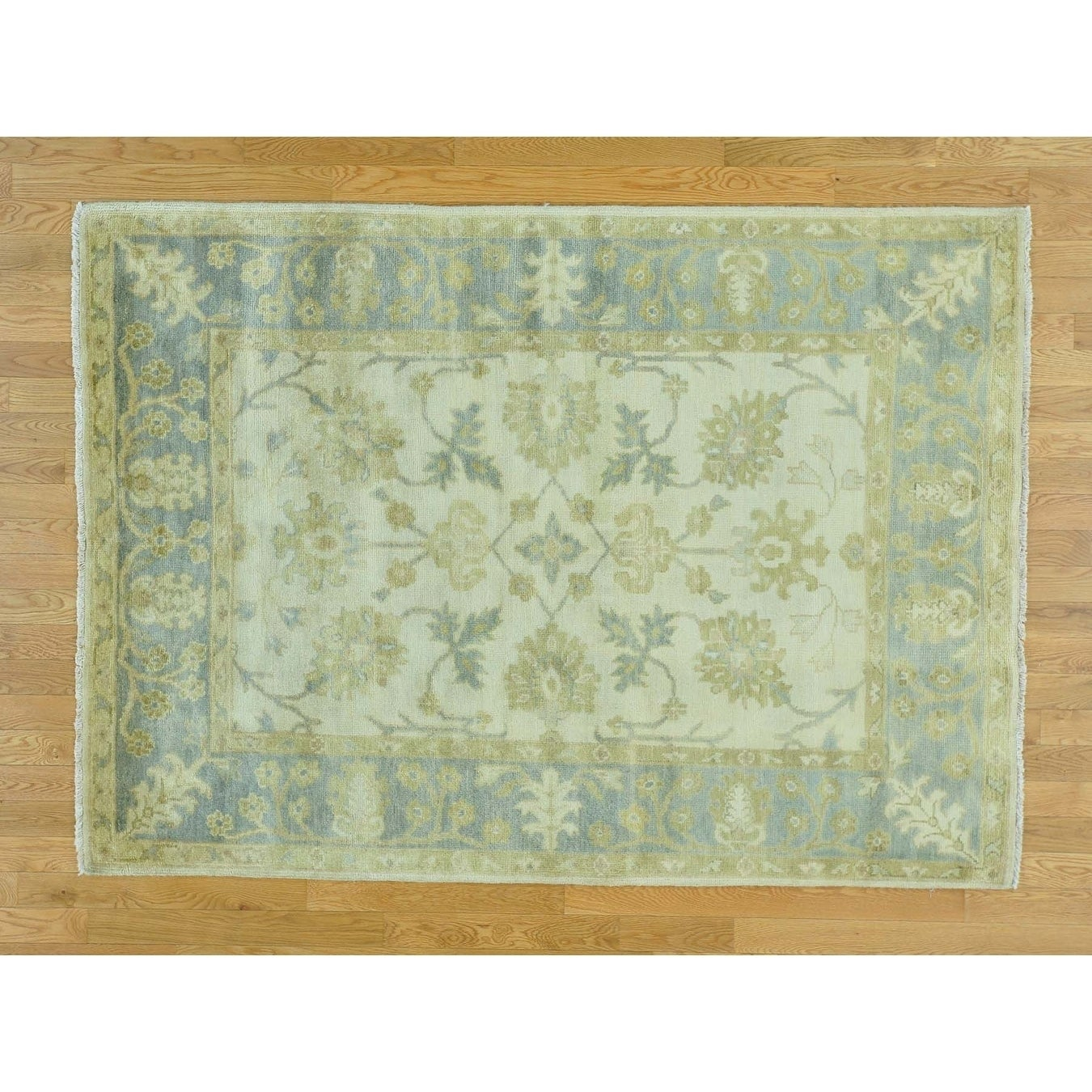 Hand Knotted Ivory Oushak And Peshawar with Wool Oriental Rug - 52 X 72
