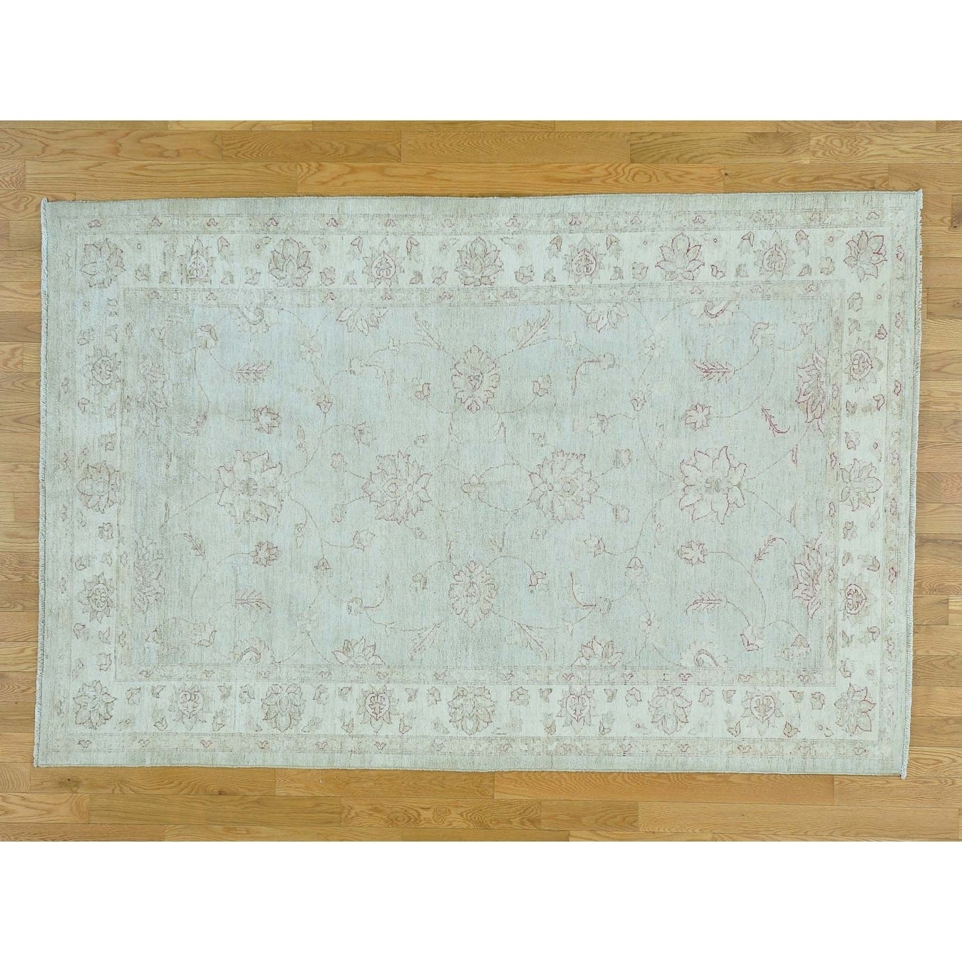 Hand Knotted Grey Oushak And Peshawar with Wool Oriental Rug - 52 x 710
