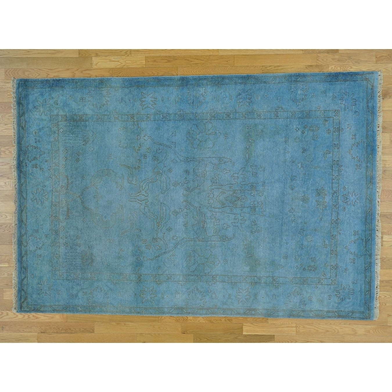 Hand Knotted Blue Overdyed & Vintage with Wool Oriental Rug - 510 x 89
