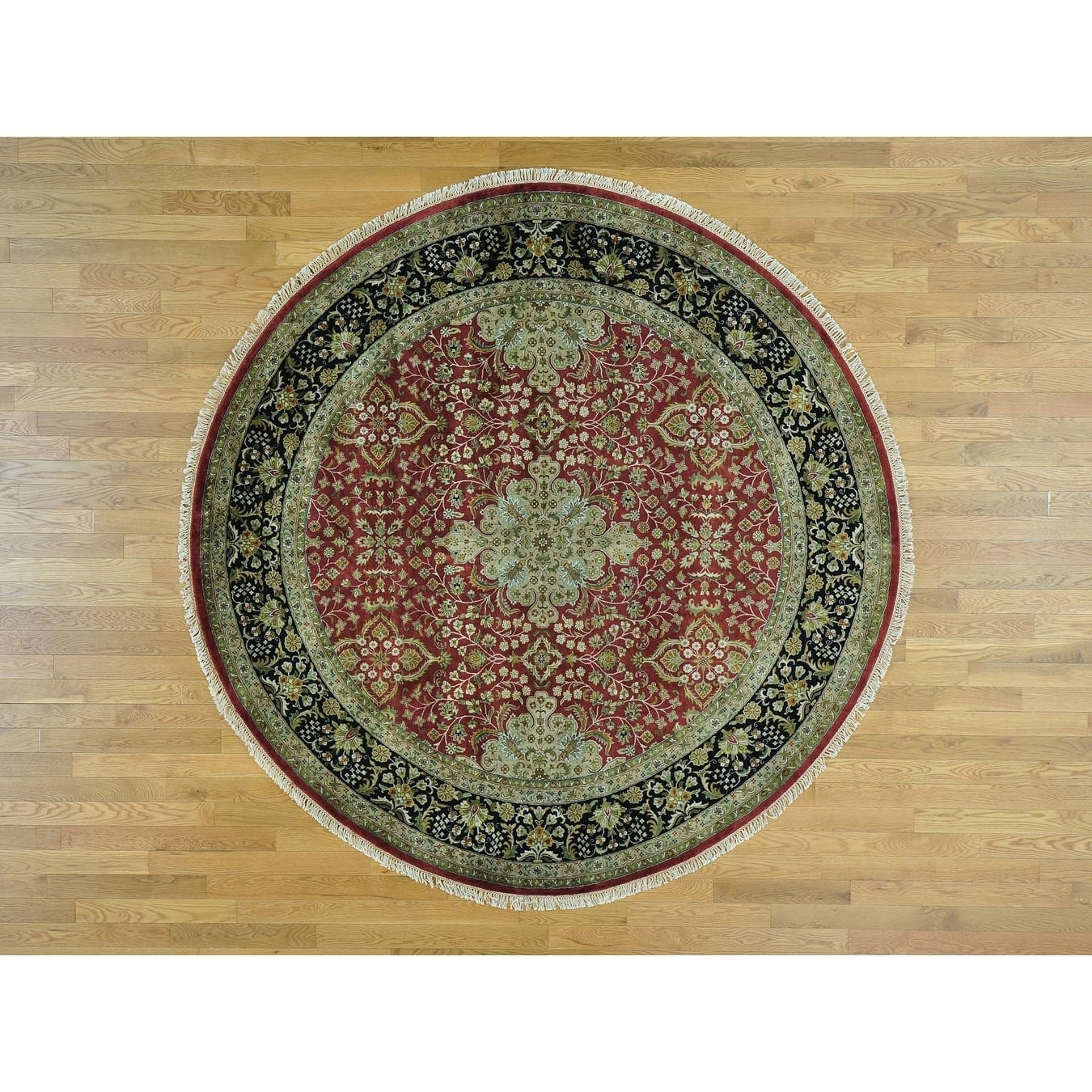 Hand Knotted Red Fine Oriental with New Zealand Wool Oriental Rug - 8 x 8