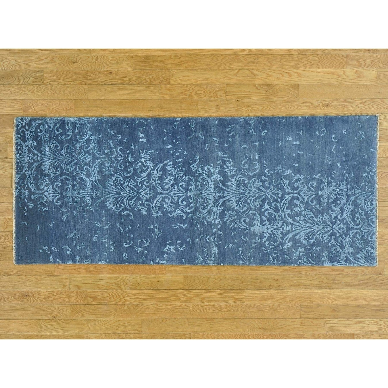 Hand Knotted Blue Modern & Contemporary with Wool & Silk Oriental Rug - 29 x 69